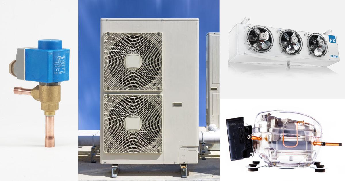 Componentes básicos de um circuito de refrigeração: válvula de expansão, condensador, evaporador e compressor