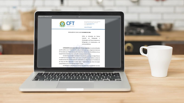 resolução 123 do CFT em tela de notebook