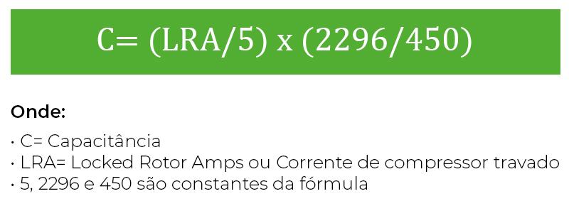 Fórmula para identificar qual o capacitor ideal para o ar-condicioando